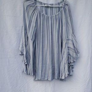 Fever blue striped bell sleeve peasant blouse 1x